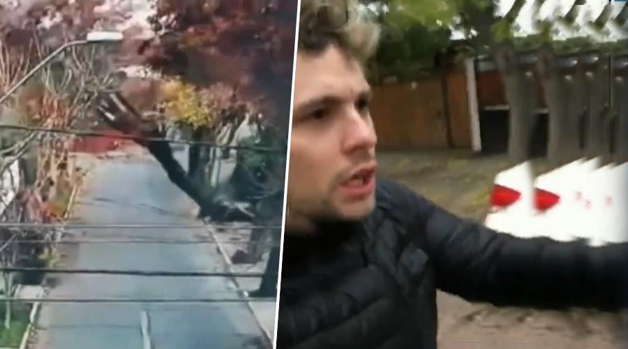 Santiago colapsó con el viento: A Joaquín casi se le cae un árbol en la cabeza