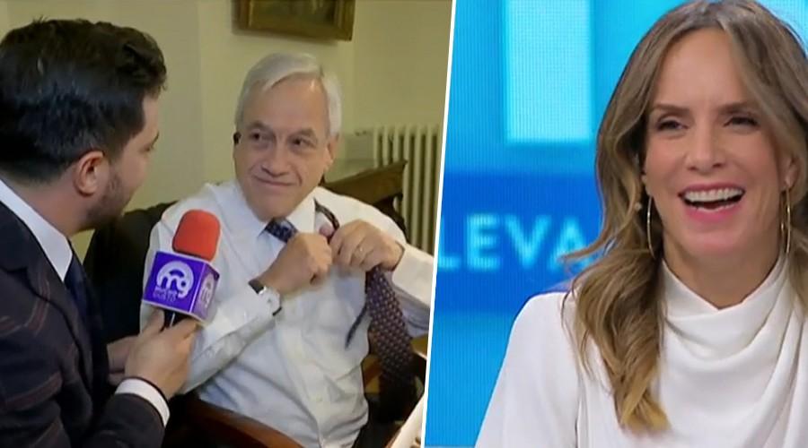 Presidente regala particular prenda a Simón Oliveros en pleno móvil para Mucho Gusto