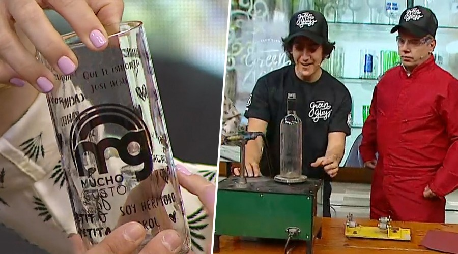 """""""Greenglas"""": El emprendimiento que recicla botellas y las convierte en originales vasos"""