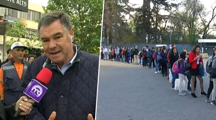 Largas filas en Puente Alto para tomar transporte público: Senador Ossandón evalúa la situación
