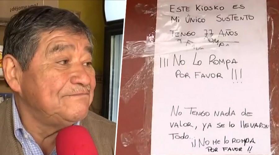 Don Marcos trabaja hace 11 años en el kiosco que fue saqueado 3 veces y se hizo viral por letrero