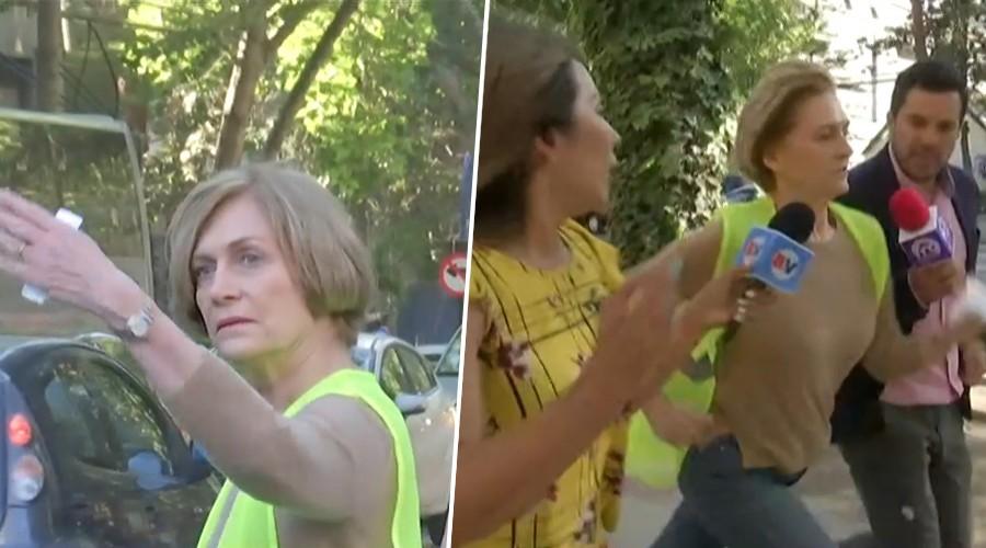 Alcaldesa Matthei dirigió el tránsito tras destrucción de semáforos y se molestó con periodistas