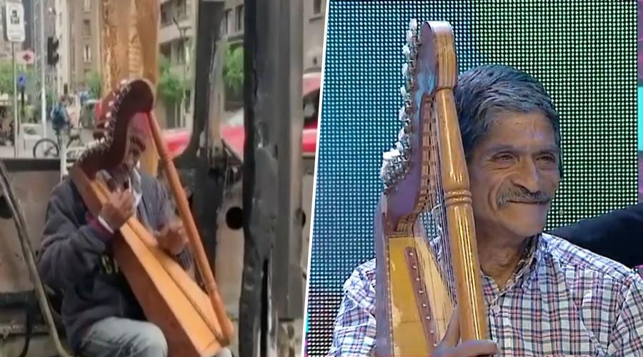 Adolfo Parra se hizo viral por tocar el arpa dentro de una micro quemada