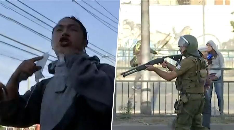 Equipo de Mucho Gusto vive en terreno tenso momento entre Carabineros y manifestantes en La Granja