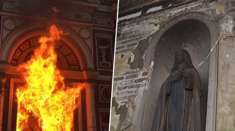 El día después de la Iglesia de la Veracruz del Barrio Lastarria tras ser quemada por violentistas