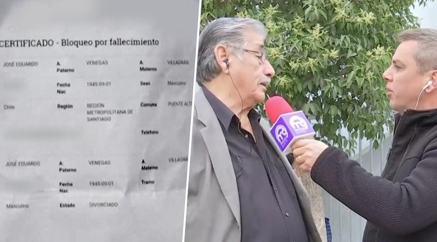 José Venegas figura muerto por quinta vez en Fonasa y no puede acceder a sus servicios