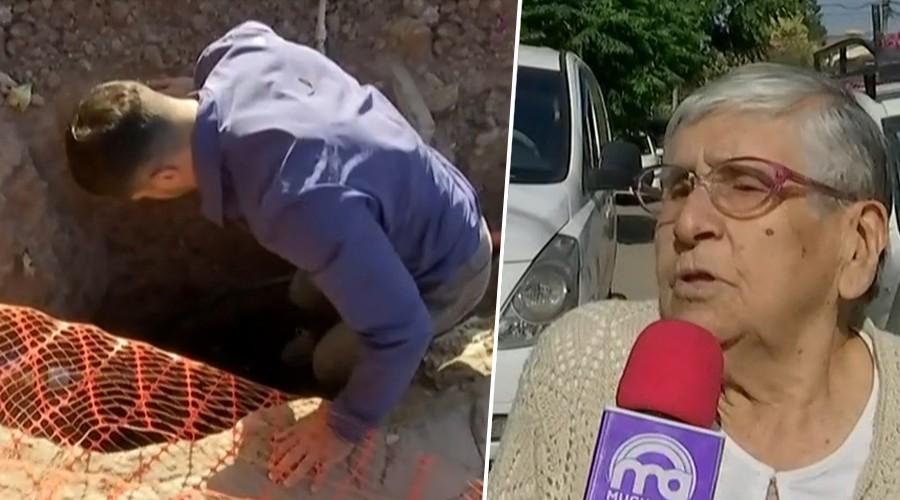 Trabajo no terminado en Maipú dejó a vecinos con hoyos frente a las puertas de sus casas