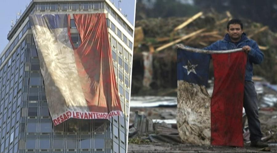 A 10 años del terremoto y tsunami despliegan desde edificio réplica de icónica bandera del 27F