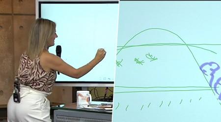 Michelle Adam explica el clima extremo por el cambio climático con didáctica pantalla