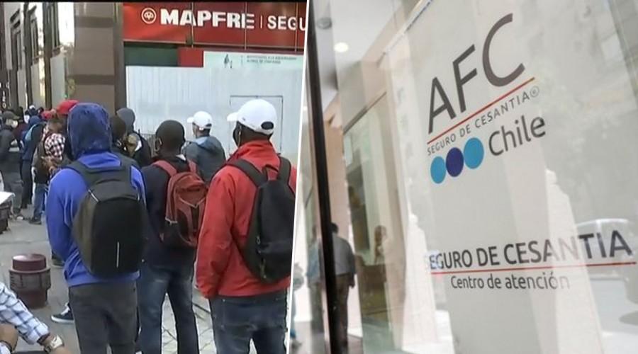 Sin distanciamiento social: Largas filas en el centro de Santiago para cobrar seguro de cesantía