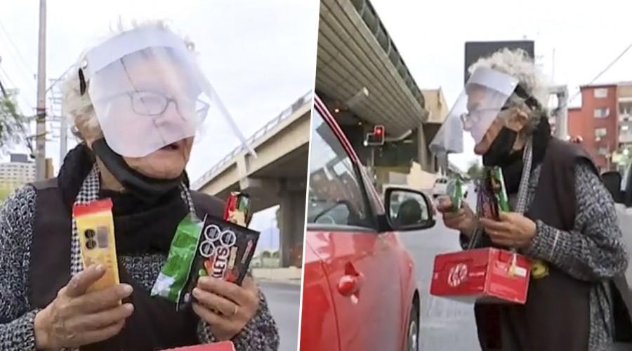 Vecinos en ayuda de Norita: Le entregan mercadería para que deje de vender dulces en la calle a sus 81 años