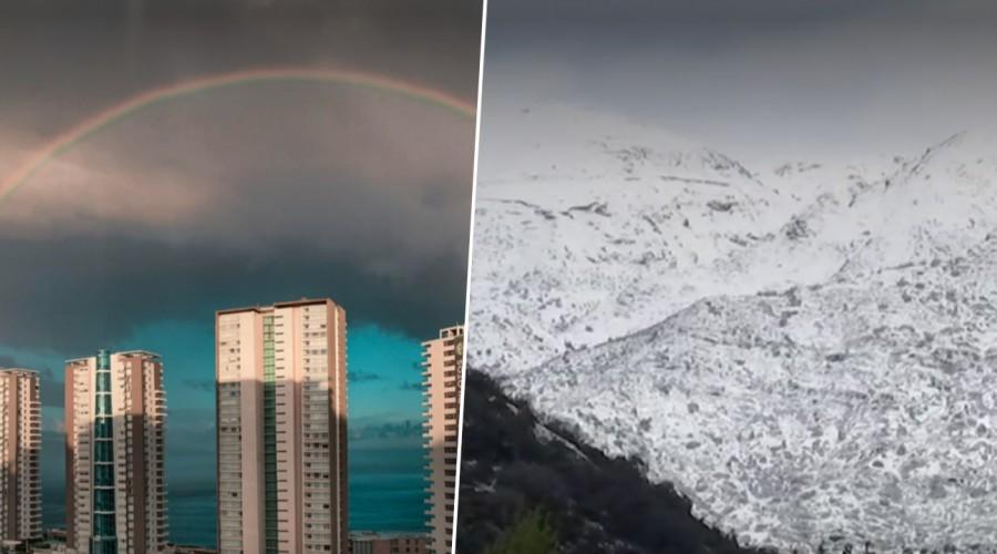 """Las postales que dejó la nieve caída en alunas comunas de Santiago: Michelle anuncia que """"se viene el frío"""""""