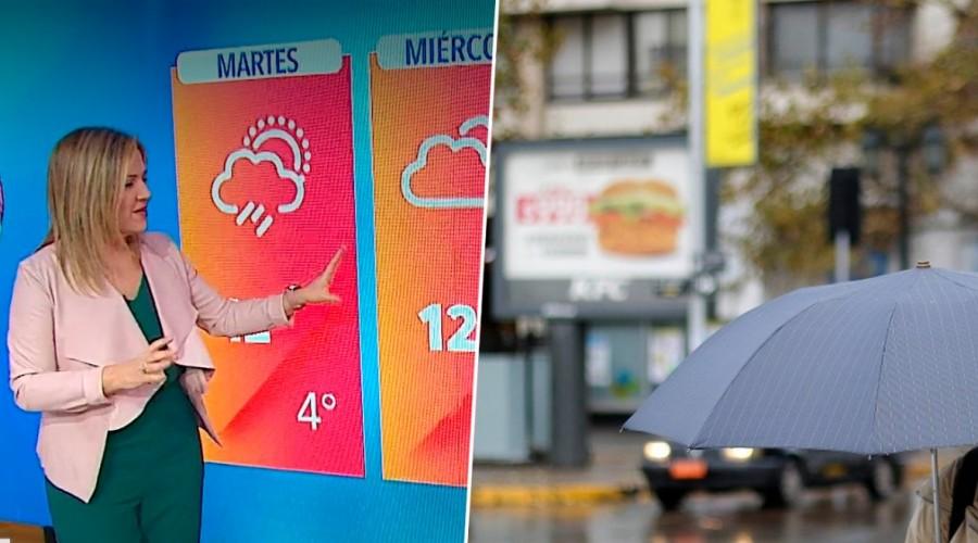 Michelle Adam pronostica posibles chubascos este martes en Santiago y lluvia en el sur del país
