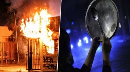 Noche de masivos cacerolazos, barricadas y saqueos por retiro de 10% de AFP
