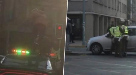 Hombre saltó sobre una patrulla de Carabineros y luego se lanzó a un auto