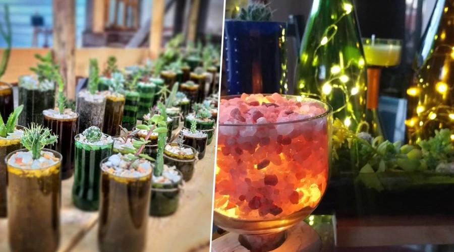 Joven pareja se dedica a reutilizar botellas de vidrio para darles nuevo uso en la decoración de espacios