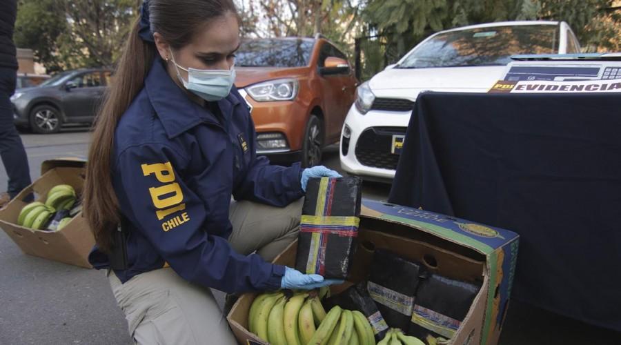 Escondida en plátanos, gaseosas y paltas: Así ingresa la droga a Chile en pandemia