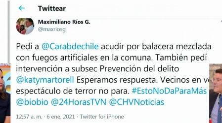 Alcalde de Lo Prado denuncia a través de Twitter noche de balaceras y fuegos artificales en la comuna