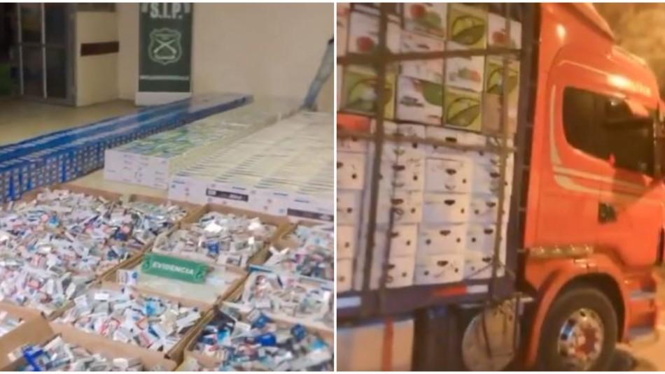 Detienen por contrabando a chofer que transportaba miles de cajetillas de cigarrillos / Redes sociales.