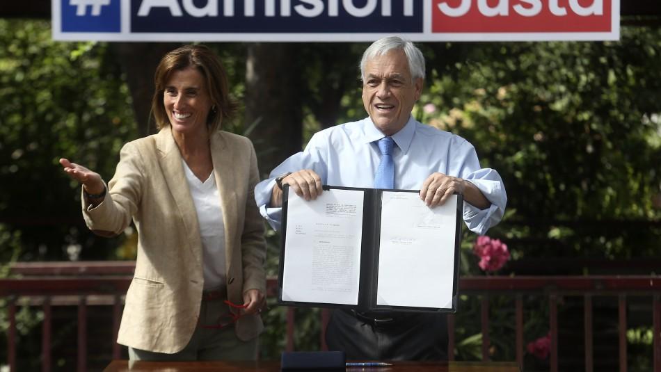 Marcela Cubillos, ministra de Educación, y Presidente Sebastián Piñera / Agencia Uno