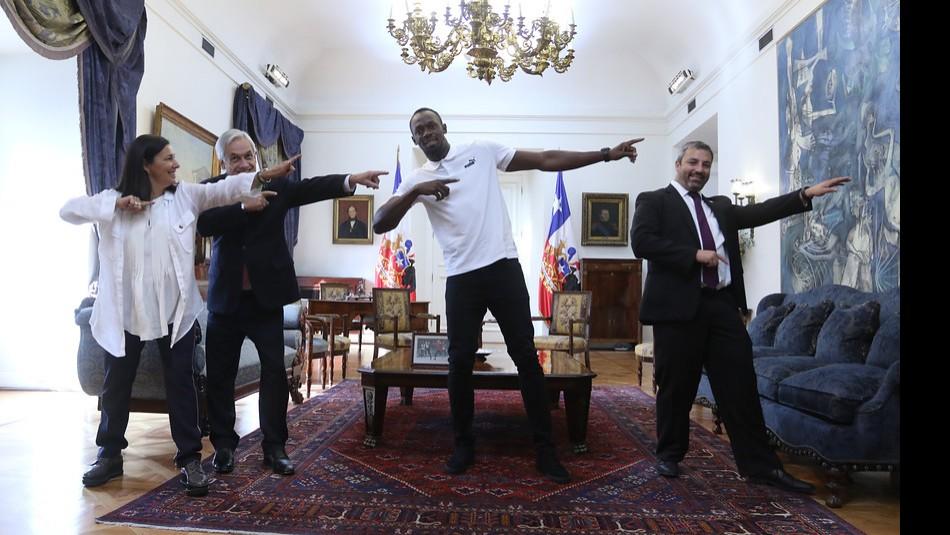 Bolt compartió con el Presidente Piñera. / Agencia Uno