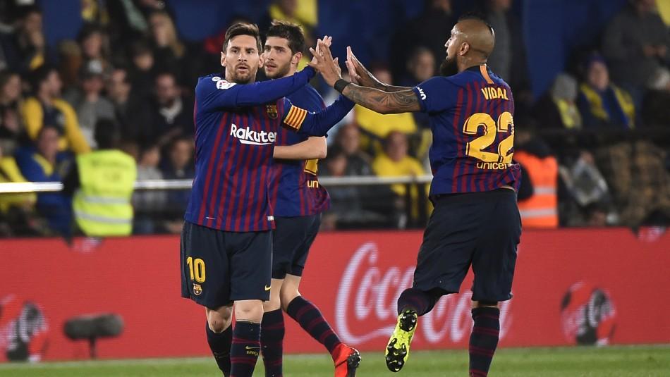 Vidal en el duelo ante Villarreal / AFP.