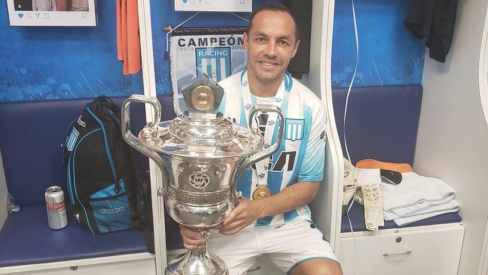 Marcelo Díaz festeja en Racing. / Instagram