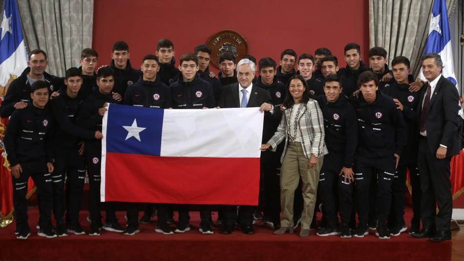 La Sub 17 fue recibida en La Moneda. / Agencia Uno