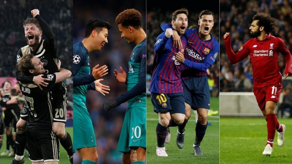 Los cuatros semifinalistas de Champions. / Reuters