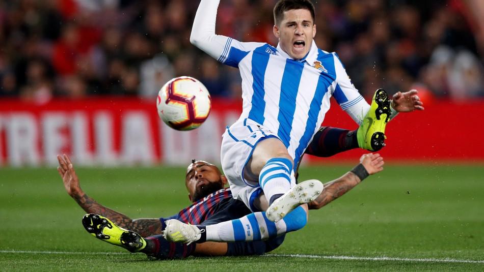 Vidal titular en Barcelona. / Reuters