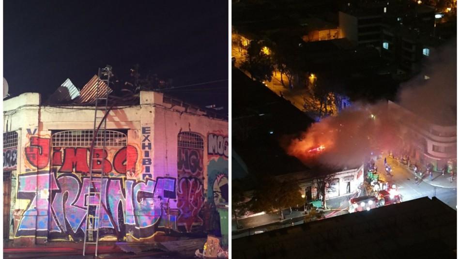 Incendio consumió residencia en Santiago Centro: 12 personas afectadas por inhalación de humo / Twitter @fabes_1602.