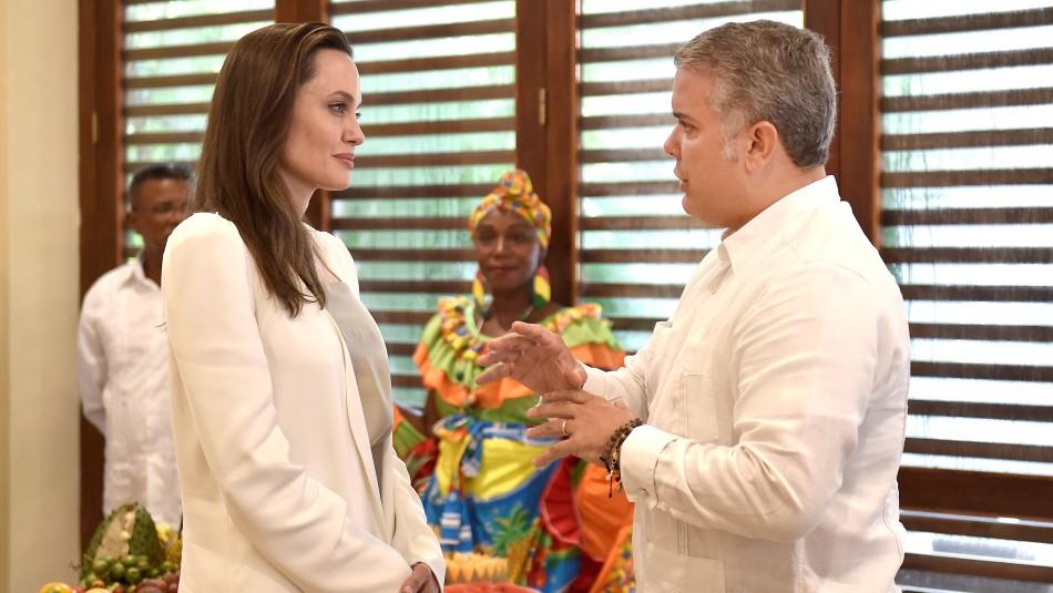 Angelina Jolie y el Presidente Iván Duque / Reuters.