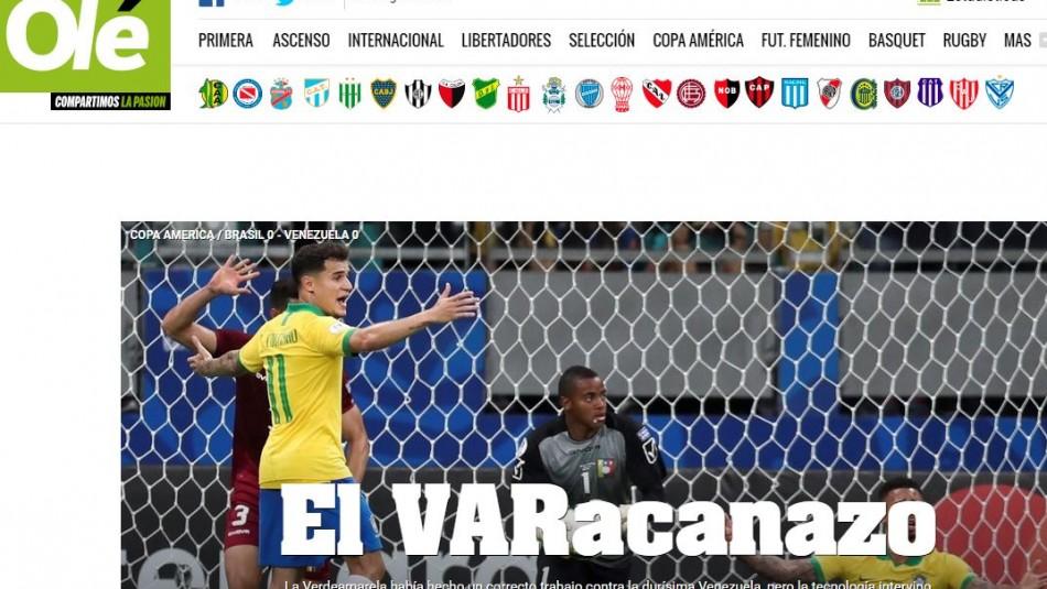 Así tituló el diario Olé de Argentina.