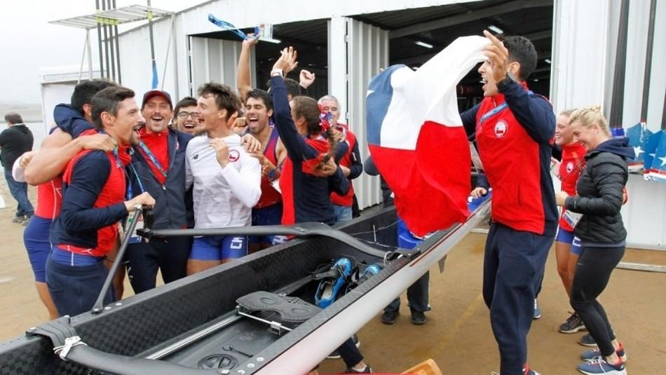 El festejo del Team Chile en Juegos Panamericanos.