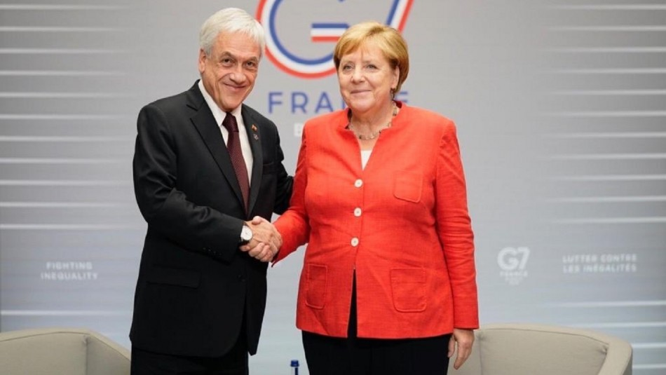 El Presidente Sebastián Piñera y la canciller de Alemania, Angela Merkel.