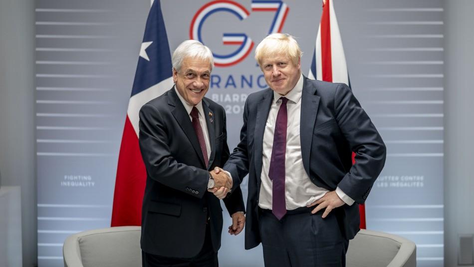 Cumbre G7: Presidente Piñera sostuvo reunión bilateral con Boris Johnson
