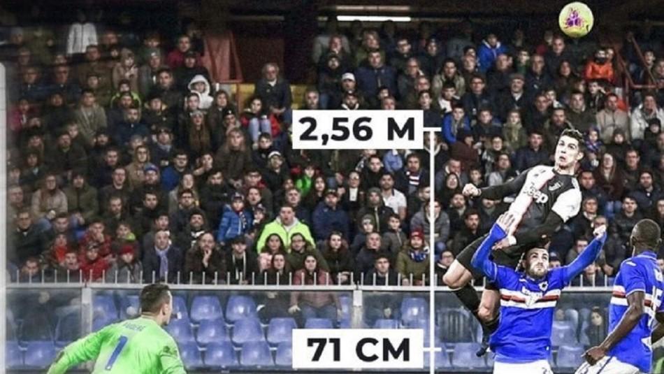 Cristiano Ronaldo da que hablar con su salto.