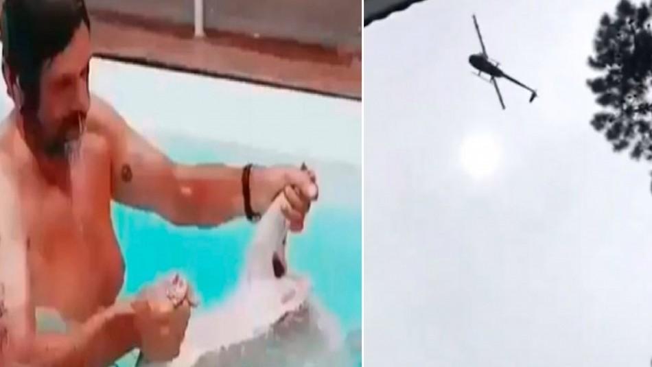 Filtran video de empresario argentino en la piscina con el cordero que lanzaron desde helicóptero