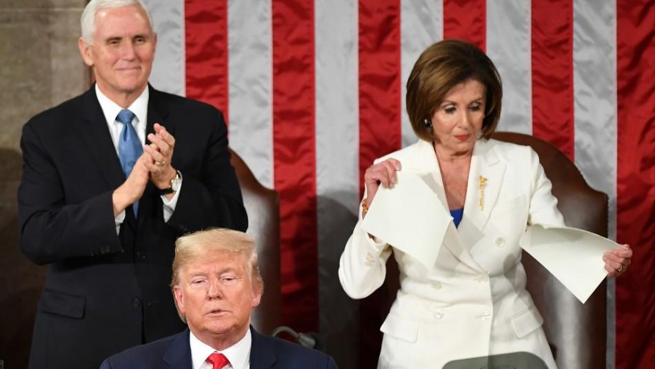 Polémico gesto de Nancy Pelosi: Rompió el discurso de Donald Trump en el Congreso