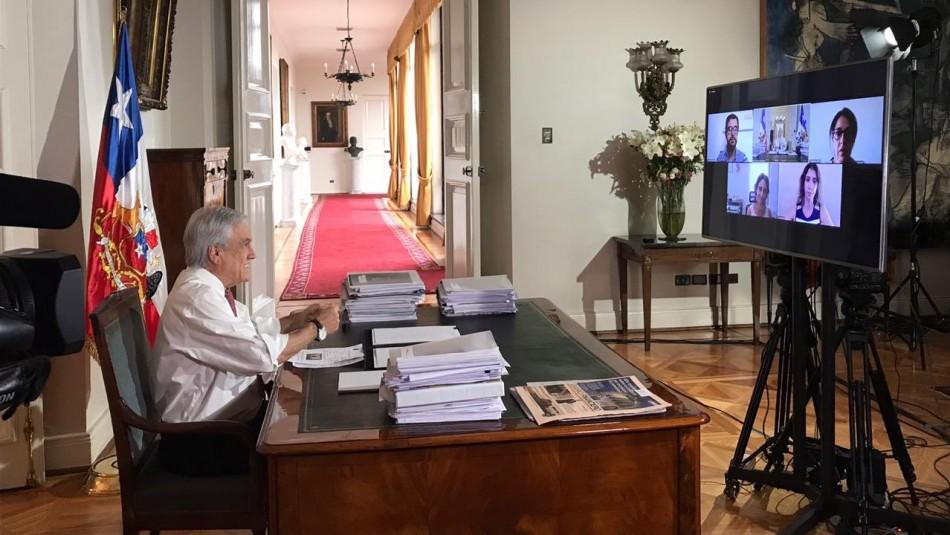 Piñera firma proyecto de teletrabajo en videoconferencia: