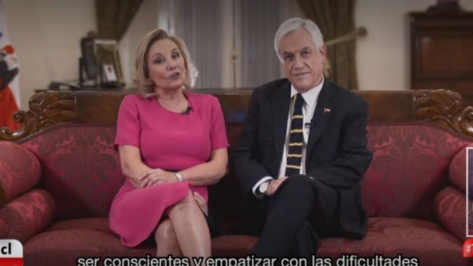 Presidente Piñera envía mensaje a Teletón junto a Cecilia Morel invitando a demostrar el