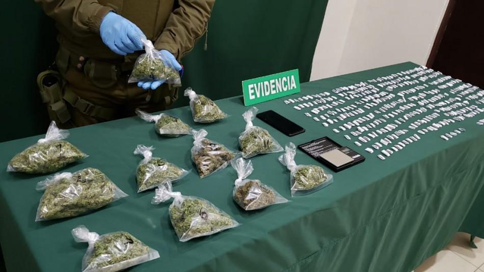 Detienen a dos personas que trasladaban más de mil dosis de marihuana y pasta base