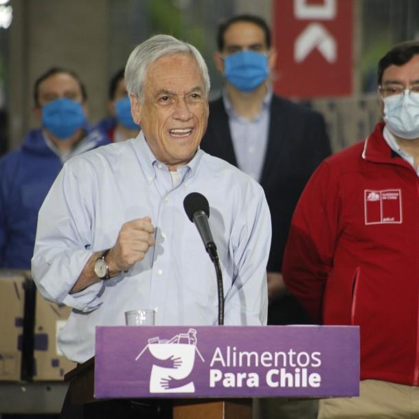 Presidente Piñera informa que se han repartido más de 600 mil cajas de alimentos en todo Chile