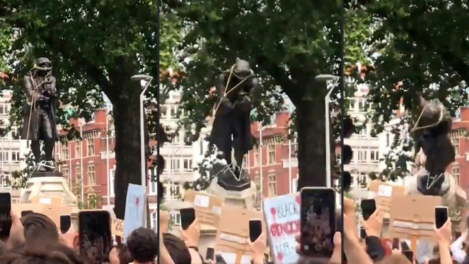 Videos registran cómo manifestantes en Inglaterra tiraron al agua estatua de esclavista del siglo XVII