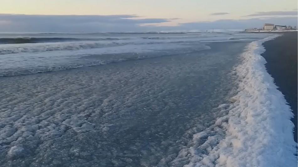 Video muestra impresionante congelamiento del mar en Argentina
