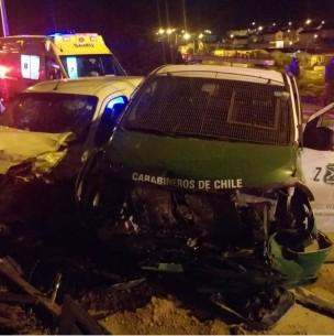 Violento choque entre vehículo de Carabineros y particular deja cinco heridos en Coquimbo