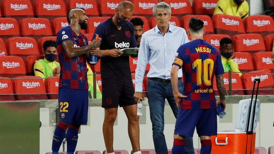 Arturo Vidal celebró con el Barcelona.