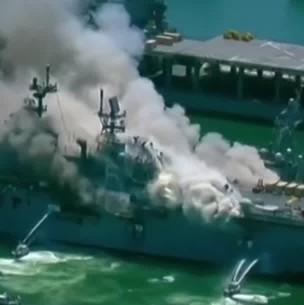 Al menos 21 heridos: Buque de la Armada de EEUU se incendia tras una explosión