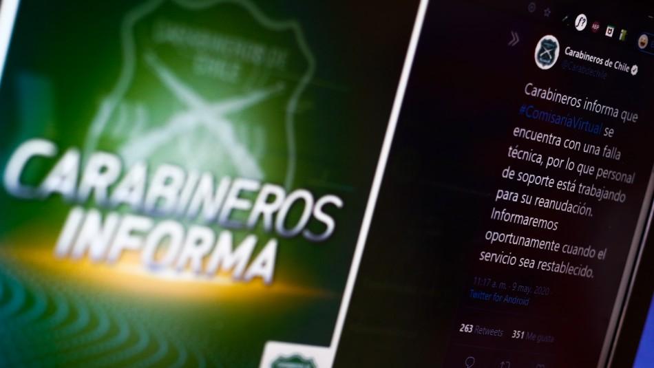 Carabineros informa sobre intermitencia en página web de Comisaría Virtual