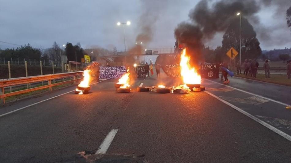 Incidentes en Ruta 5 Sur dejan a carabinero herido a bala y tránsito suspendido a la altura de Ercilla